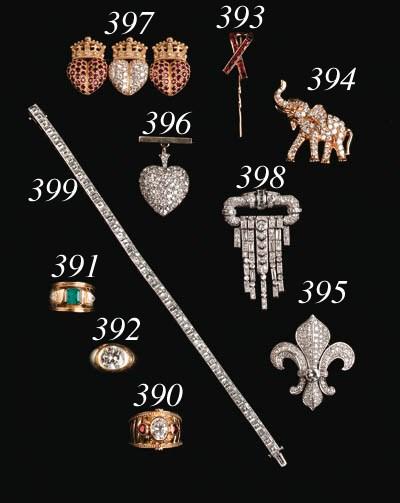 A Diamond-set Elephant Brooch