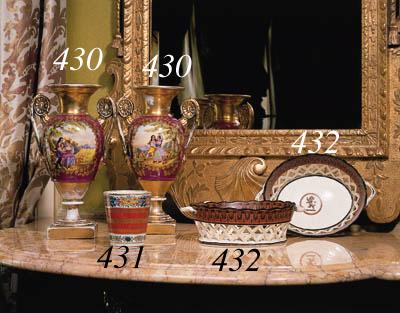 A pair of Paris porcelain two-