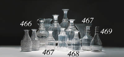 Eight various cut-glass decant
