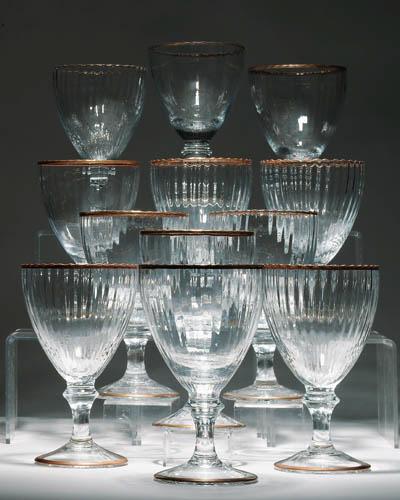 Twelve massive fluted glass go