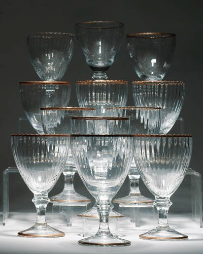 Twelve massive fluted glass go