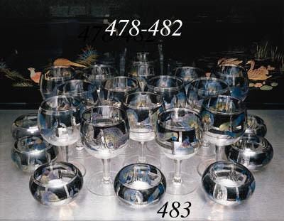 Six large Vedar cocktail glass