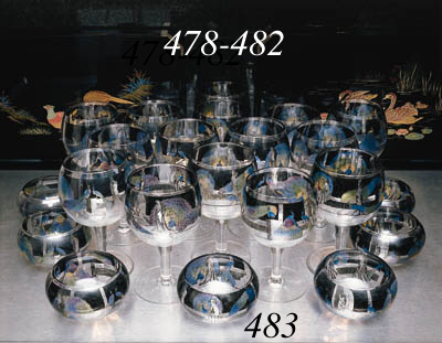 Six large Vedar cocktail glass