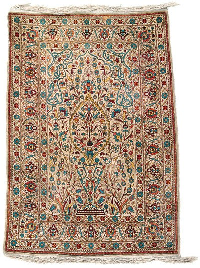 A SILK HEREKE PRAYER RUG
