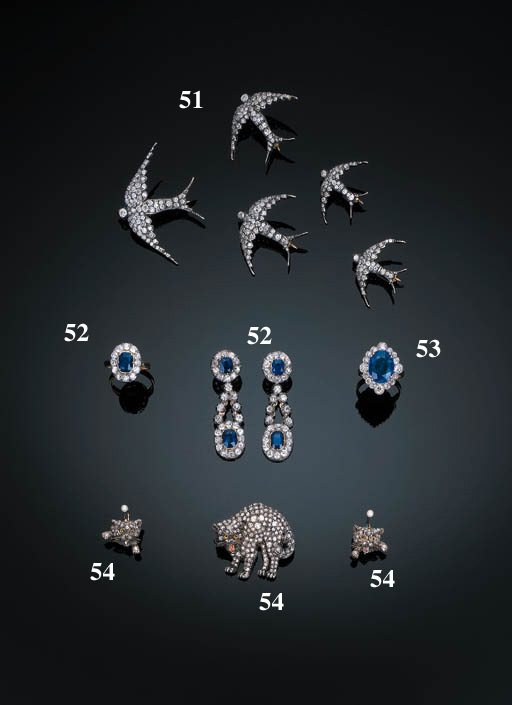 A Pair of Sapphire and Diamond Pendant Earrings and Ring