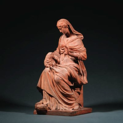 A TERRACOTTA FIGURE OF SAINT A