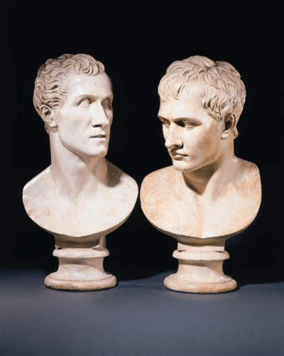 A PAIR OF PLASTER BUSTS OF NAP