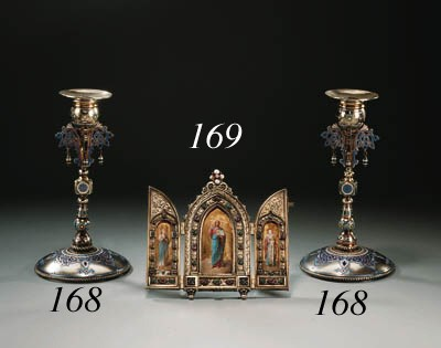 A pair of silver champlevé ena