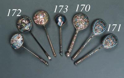 Three cloisonné enamel Spoons