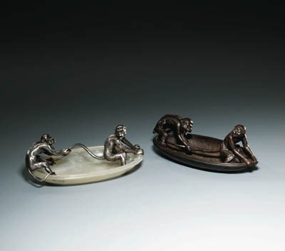 A silver and onyx Dish