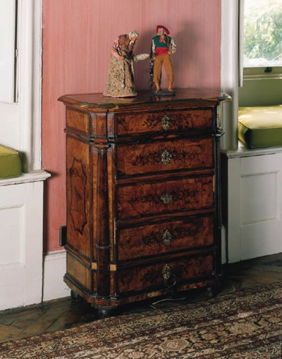 A German walnut marquetry and