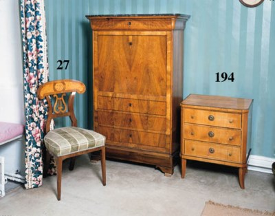 A fruitwood bedside commode