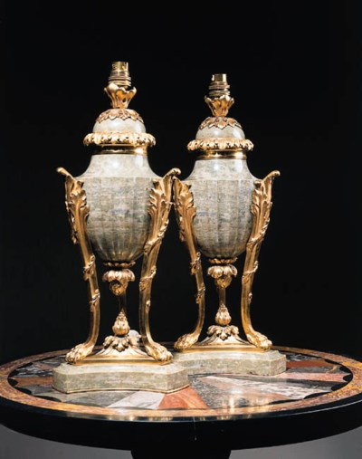 A pair of French ormolu and gr
