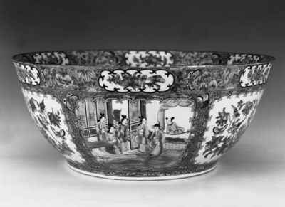 A large Cantonese punch bowl
