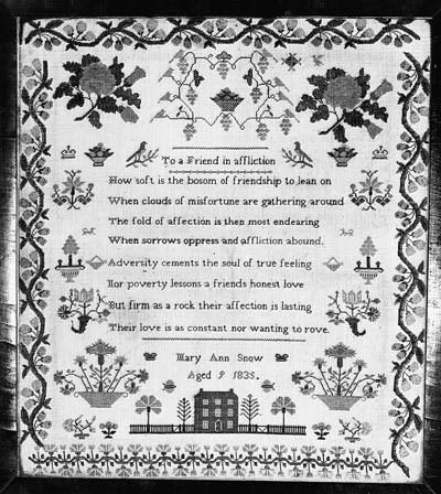 A cross stitch sampler by Mary