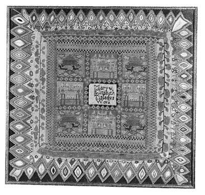 An unusual woolwork sampler by