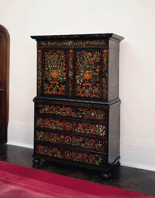 A rosewood, walnut and floral