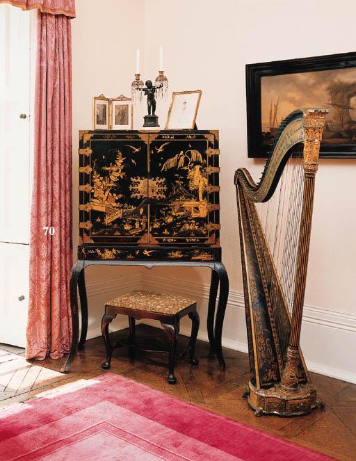 A black lacquer, gilt-japanned