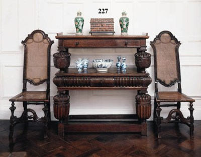 An oak two-tier buffet