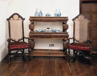 An oak two-tier buffet,