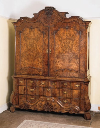 A Dutch walnut armoire,