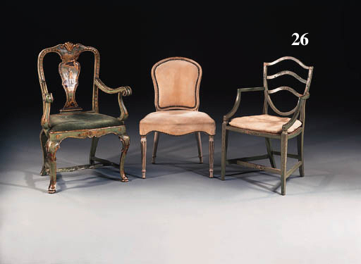 A pair of late George III green-painted open armchairs