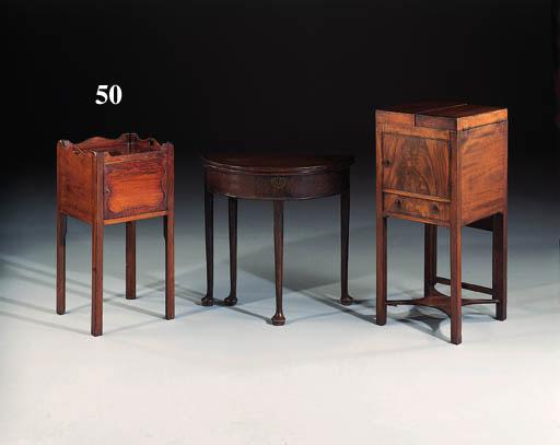 A George III style mahogany tray-top bedside cupboard