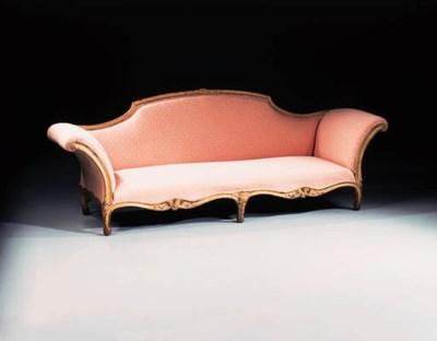 A Louis XV giltwood canape