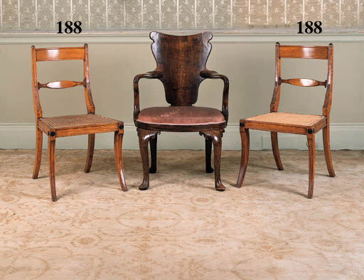 A set of four Regency satinwood chairs