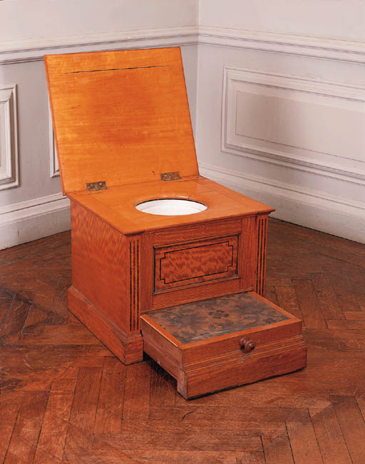 An Edwardian satinwood close stool