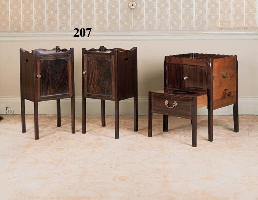 A pair of mahogany tray top bedside cupboards, 20th century
