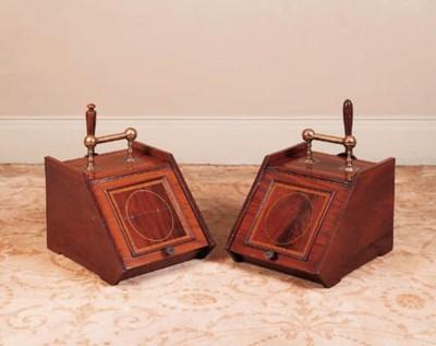 A pair of mahogany and satinwo
