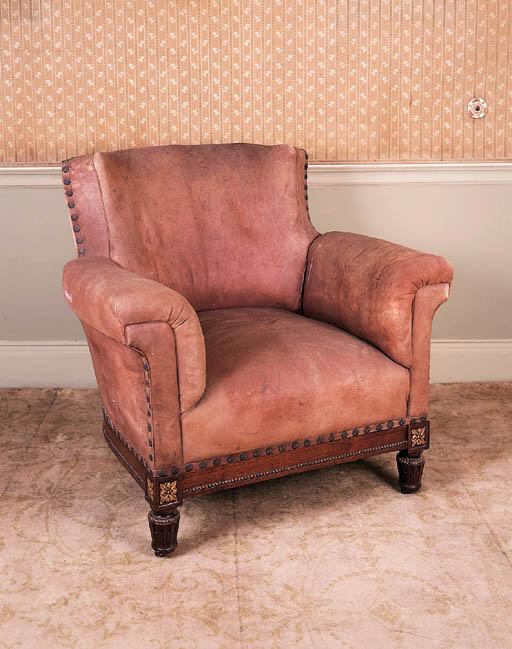 An Edwardian easy armchair
