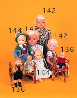 Five celluloid dolls
