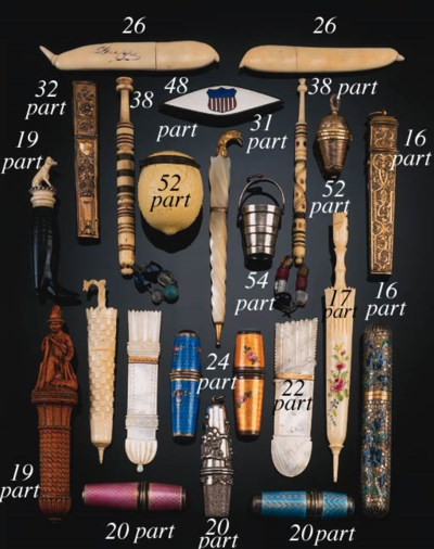 A collection of wooden and bon