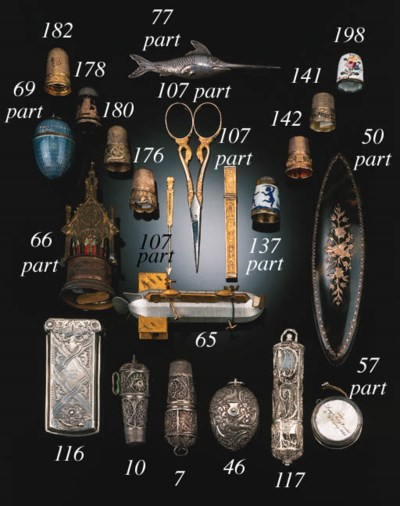 A silver-gilt thimble,