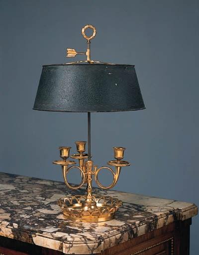 A French gilt-bronze three-lig