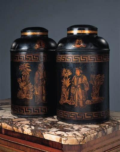 A pair of japanned metal tea c