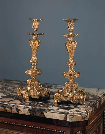 A pair of French bronze candle