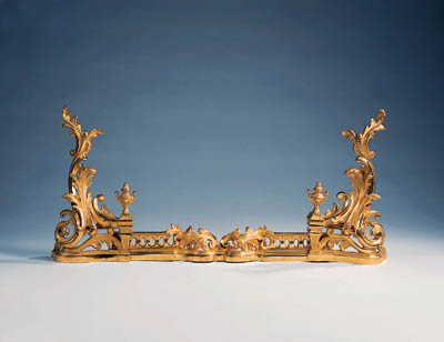 A French gilt-bronze fender, e