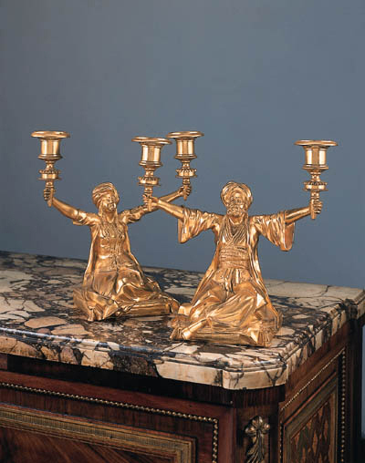 A pair of French bronze twin-l
