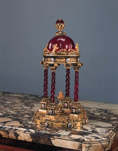 An Austrian gilt-bronze, ruby-