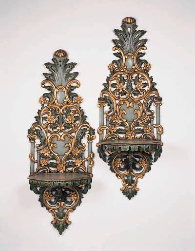 A pair of Italian polychrome p