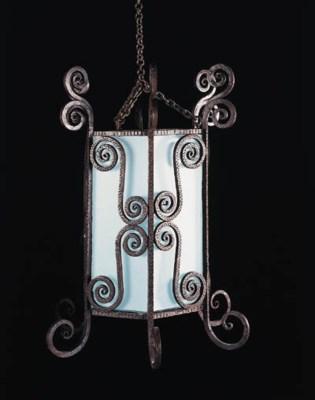A painted iron hall lantern, 2