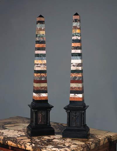 A pair of specimen marble obel