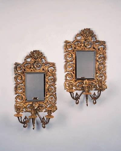A pair of gilt-bronze three-li