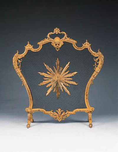 A French bronze firescreen, ea
