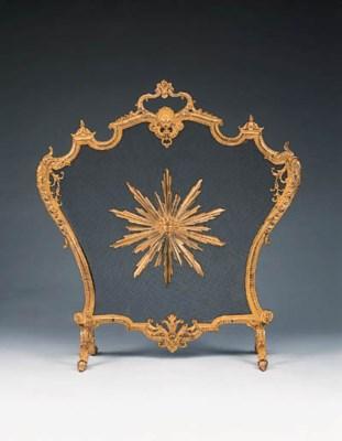 A French bronze firescreen, ea