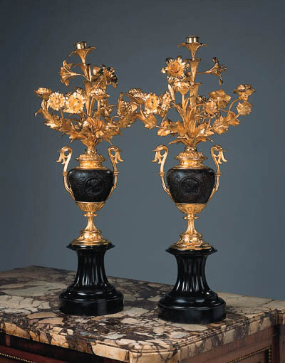 A pair of French bronze five-l