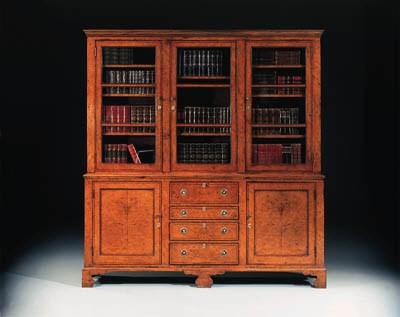 A  burr-oak secretaire bookcas
